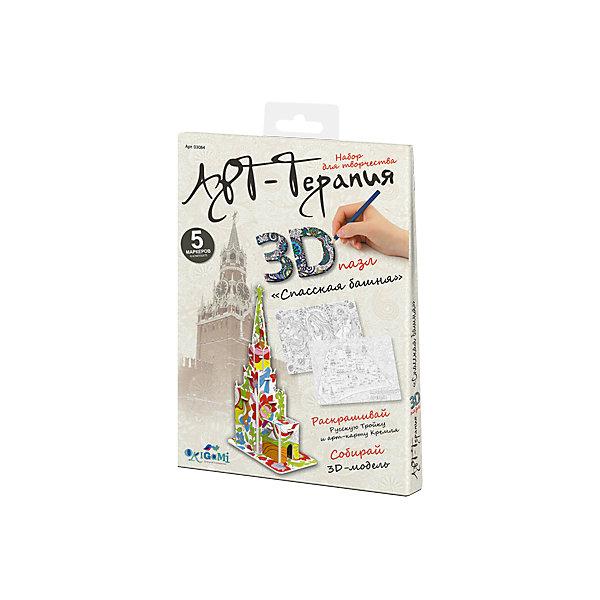 3D пазл Origami Арт-терапия Спасская башня + 5 маркеров3D пазлы<br>Характеристики товара:<br><br>• возраст: от 6 лет;<br>• пол: для девочек и мальчиков;<br>• комплектация: детали для сборки модели, 5 маркеров;<br>• из чего сделана игрушка (состав): пластик, бумага, краситель;<br>• размер упаковки: 16,5х2х23 см.;<br>• вес: 58 гр.;<br>• упаковка: картонный конверт;<br>• страна обладатель бренда: Россия.<br><br>Набор для творчества 3D-пазл поможет раскрыть творческий потенциал.<br><br>Юному художнику предстоит собрать башню из деталей, входящих в набор, и пятью маркерами раскрасить модель по собственному вкусу. <br><br>Результат обязательно понравится ребенку, а получившаяся модель сможет украсить интерьер детской комнаты. <br><br>Пазл «Спасская башня» можно купить в нашем интернет-магазине.<br><br>Ширина мм: 165<br>Глубина мм: 20<br>Высота мм: 230<br>Вес г: 58<br>Возраст от месяцев: 72<br>Возраст до месяцев: 2147483647<br>Пол: Унисекс<br>Возраст: Детский<br>SKU: 7335600