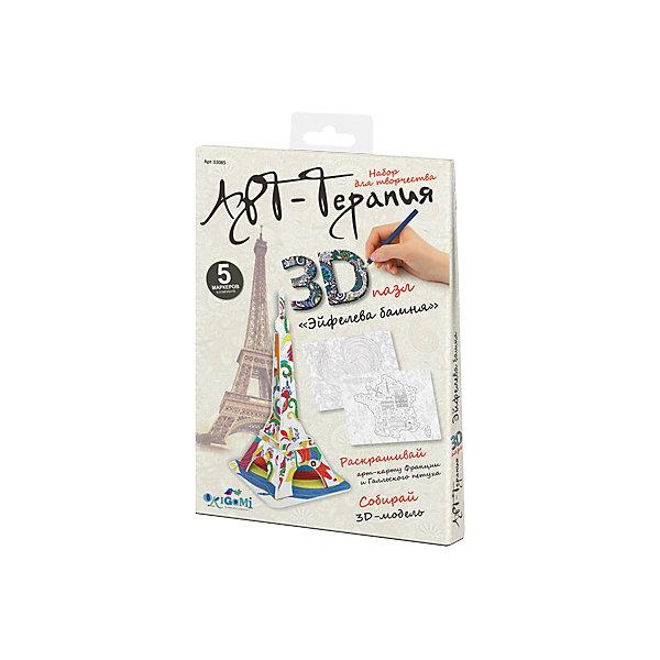 3D пазл Origami Арт-терапия Эйфелева башня + 5 маркеров3D пазлы<br>Характеристики товара:<br><br>• возраст: от 6 лет;<br>• пол: для девочек и мальчиков;<br>• комплектация: детали для сборки модели, 5 маркеров;<br>• из чего сделана игрушка (состав): пластик, бумага, краситель;<br>• размер упаковки: 16,5х2х23 см.;<br>• вес: 58 гр.;<br>• упаковка: картонный конверт;<br>• страна обладатель бренда: Россия.<br><br>Набор для творчества 3D-пазл поможет раскрыть творческий потенциал.<br><br>Юному художнику предстоит собрать башню из деталей, входящих в набор, и пятью маркерами раскрасить модель по собственному вкусу. <br><br>Результат обязательно понравится ребенку, а получившаяся модель сможет украсить интерьер детской комнаты. <br><br>Пазл «Эйфелева башня» можно купить в нашем интернет-магазине.<br><br>Ширина мм: 165<br>Глубина мм: 20<br>Высота мм: 230<br>Вес г: 58<br>Возраст от месяцев: 72<br>Возраст до месяцев: 2147483647<br>Пол: Унисекс<br>Возраст: Детский<br>SKU: 7335601