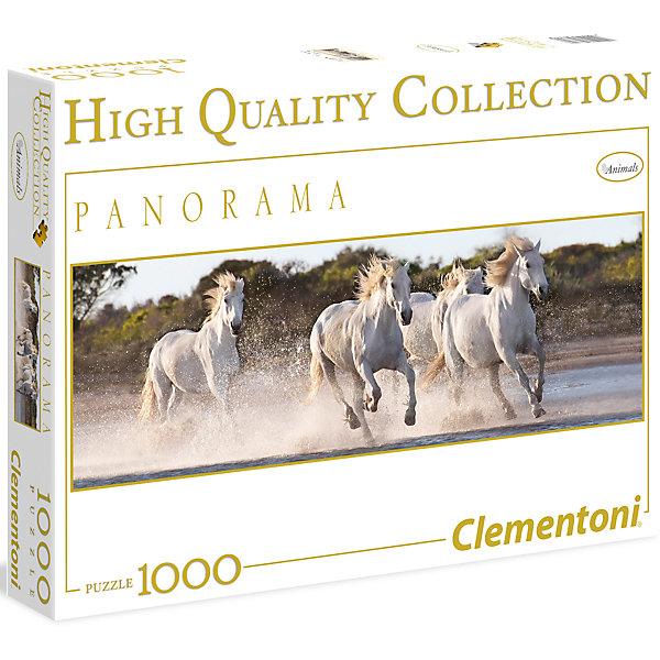 Панорманый пазл Clementoni Белые лошади, 1000 элементовПазлы классические<br>Самая разнообразная и популярная  коллекция High Quality -  это великолепные пейзажи, достопримечательности, потрясающие фотографии и даже древние карты мира!<br><br>Ширина мм: 370<br>Глубина мм: 55<br>Высота мм: 281<br>Вес г: 875<br>Возраст от месяцев: 84<br>Возраст до месяцев: 2147483647<br>Пол: Унисекс<br>Возраст: Детский<br>SKU: 7335613