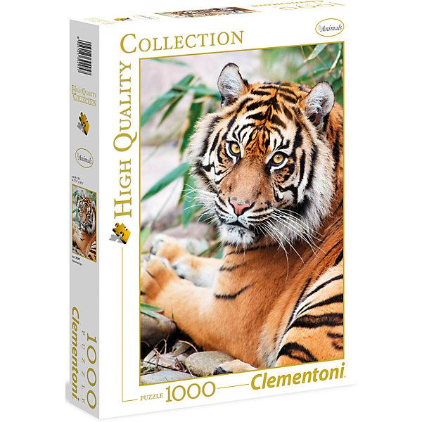 Пазл Clementoni Суматранский тигр, 1000 элементовПазлы классические<br>Характеристики товара:<br><br>• возраст: от 7 лет;<br>• пол: для девочек и мальчиков;<br>• количество элементов: 1000 шт.;<br>• из чего сделана игрушка (состав): картон;<br>• размер упаковки: 37х5,5х28,1 см.;<br>• вес: 845 гр.;<br>• упаковка: картонная коробка;<br>• размер собранного пазла: 69х50 см.;<br>• страна обладатель бренда: Италия.<br><br>Бренд Clementoni представляет вниманию детей и взрослых эффектный пазл «Суматранский тигр» из серии Animals. <br><br>Он состоит из целой тысячи элементов и в собранном виде представляет собой весьма реалистичное изображение этого крупного хищника из семейства кошачьих, величаво лежащего на земле и смотрящего прямо на зрителя. <br><br>Собрать такой большой пазл, конечно, не так-то просто, но великолепное изображение, получающееся в итоге, служит отличной мотивацией, чтобы все-таки решиться это сделать.<br><br>Пазл «Суматранский тигр» можно купить в нашем интернет-магазине.<br><br>Ширина мм: 370<br>Глубина мм: 55<br>Высота мм: 281<br>Вес г: 875<br>Возраст от месяцев: 84<br>Возраст до месяцев: 2147483647<br>Пол: Унисекс<br>Возраст: Детский<br>SKU: 7335617