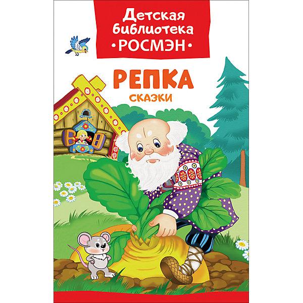 Репка. Сказки (Детская библиотека Росмэн)Русские сказки<br>Характеристики:<br><br>• возраст: от 3 лет;<br>• тип игрушки: книга;<br>• тип: сказки;<br>• иллюстрации: цветные;<br>• размер: 13,2х0,8х20 см;<br>• вес: 110 гр;<br>• автор: ДБ Росмэн;<br>• иллюстрации: Здорнова Е.;<br>•количество страниц: 32;<br>• материал: картон, бумага;<br>• издатель: Rosman.<br><br> «Репка. Сказки»  – книга с цветными иллюстрациями от издательства Росмэн. Она подходит для детей от 3 лет и включает в себя популярные сказки.<br><br>В сборник вошли русские народные сказки, которые неизменно нравятся малышам: «Репка», «Лисичка со скалочкой», «Маша и медведь», «Волк и коза». Иллюстрации Екатерины Здорновой как нельзя лучше дополняют истории.<br>Чтение с раннего возраста прививает ребенку усидчивость, умение сосредотачиваться и грамотность, помогает в дальнейшее учебе.<br><br>Книгу  «Репка. Сказки»  можно купить в нашем интернет-магазине.<br>Ширина мм: 132; Глубина мм: 8; Высота мм: 200; Вес г: 110; Возраст от месяцев: 36; Возраст до месяцев: 2147483647; Пол: Унисекс; Возраст: Детский; SKU: 7335749;