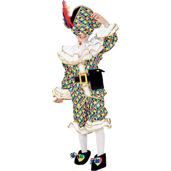 Карнавальный костюм Veneziano Арлекино для мальчикаКарнавальные костюмы для мальчиков<br>Характеристики товара:<br><br>• цвет: зеленый;<br>• состав: 80% полиэстер, 20% акрил;<br>• кофта и брюки;<br>• шляпа и маска;<br>• сезон: круглый год;<br>• страна бренда: Италия;<br>• страна изготовитель: Италия.<br><br>Итальянский карнавальный костюм Veneziano «Арлекино» Ах этот итальянский шутник «Арлекино», он желанный гость на любом празднике, ведь его костюм яркий и праздничный. Нарядная шляпа и маска скрывают лицо озорника.<br><br>Карнавальный костюм Veneziano можно купить в нашем интернет-магазине.<br><br>Ширина мм: 236<br>Глубина мм: 16<br>Высота мм: 184<br>Вес г: 177<br>Цвет: разноцветный<br>Возраст от месяцев: 36<br>Возраст до месяцев: 48<br>Пол: Мужской<br>Возраст: Детский<br>Размер: 104,116<br>SKU: 7336790