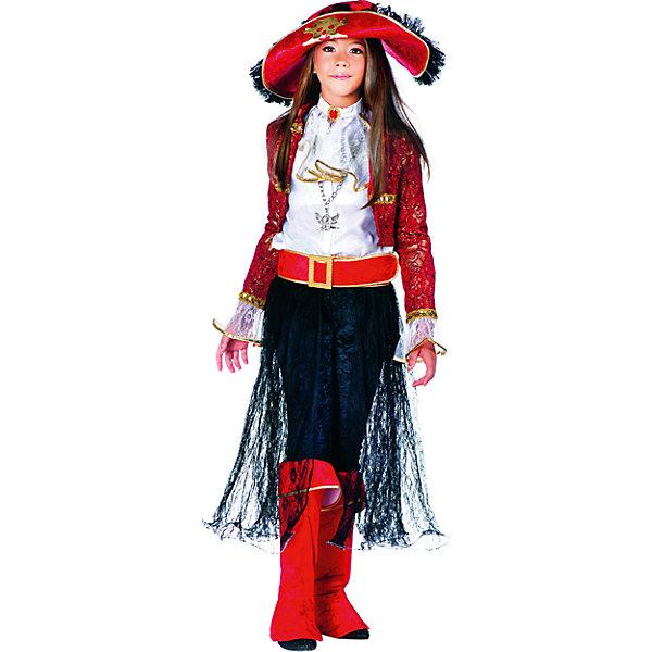 Карнавальный костюм Veneziano Леди Пират для девочкиКарнавальные костюмы для девочек<br>Характеристики товара:<br><br>• цвет: красный/черный;<br>• состав: 80% полиэстер, 20% акрил;<br>• в комплекте: рубашка, леггинсы, юбка, сапоги, пояс, шляпа и украшение на шею;<br>• сезон: круглый год;<br>• страна бренда: Италия;<br>• страна изготовитель: Италия.<br><br>Карнавальный костюм Veneziano для девочки. Итальянский карнавальный костюм Veneziano «Леди Пират». Этот костюм Вы запросто можете встретить на карнавале в Венеции, ведь его придумали дизайнеры Veneziano. Элегантная смелость и вызов, не оставят вашего ребёнка равнодушным. Крепкая шляпа, широкий пояс, красные сапоги, юбка, хлопковая белая рубашка, леггинсы, делают образ ярким и незабываемым. Украшение на шею с пиратским символом входит в комплект.<br><br>Карнавальный костюм Veneziano можно купить в нашем интернет-магазине.<br>Ширина мм: 236; Глубина мм: 16; Высота мм: 184; Вес г: 177; Цвет: разноцветный; Возраст от месяцев: 60; Возраст до месяцев: 72; Пол: Женский; Возраст: Детский; Размер: 116,104; SKU: 7336815;
