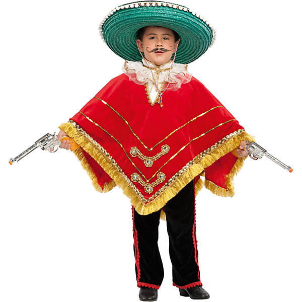 Карнавальный костюм Veneziano Мексиканский бандит для мальчикаКарнавальные костюмы для мальчиков<br>Характеристики товара:<br><br>• цвет: красный/черный;<br>• состав: 80% полиэстер, 20% акрил;<br>• в комплекте: костюм, сомбреро, пончо, пистолет;<br>• внимание! Обувь в комплект не входит;<br>• сезон: круглый год;<br>• страна бренда: Италия;<br>• страна изготовитель: Италия.<br><br>Карнавальный костюм Veneziano для мальчика. Итальянский карнавальный костюм Veneziano «Мексиканский бандит». Богатый костюм для карнавала и праздника в детском саду и на ёлке. Ваш «Мексиканец» не останется незамеченным благодаря большому количеству аксессуаров, которые входят в комплект. Сомбреро и пистолет (1 шт.), богато украшенное пончо. Обувь в комплект не входит.<br><br>Карнавальный костюм Veneziano можно купить в нашем интернет-магазине.<br>Ширина мм: 236; Глубина мм: 16; Высота мм: 184; Вес г: 177; Цвет: разноцветный; Возраст от месяцев: 36; Возраст до месяцев: 48; Пол: Мужской; Возраст: Детский; Размер: 104,116; SKU: 7336818;