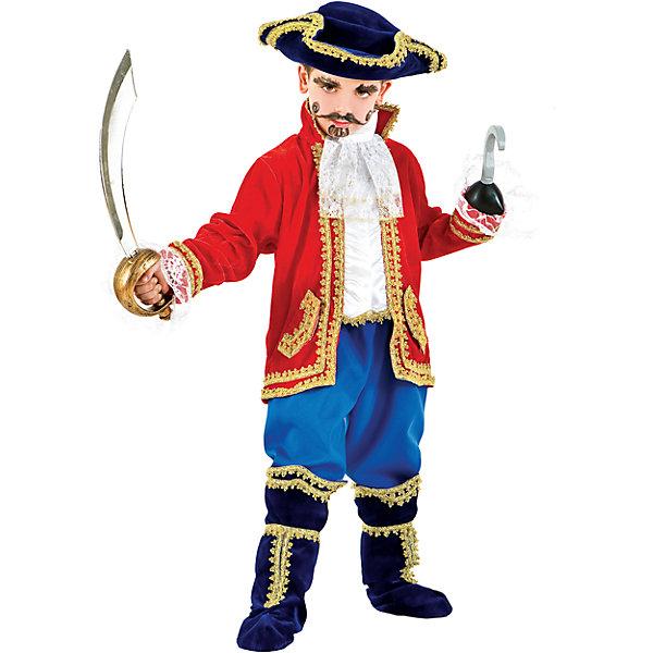 Карнавальный костюм Veneziano Капитан Крюк для мальчикаКарнавальные костюмы для мальчиков<br>Характеристики товара:<br><br>• цвет: красный/синий;<br>• состав: 80% полиэстер, 20% акрил;<br>• в комплекте: кафтан, штаны, сапоги, треуголка, сабля и крюк;<br>• сезон: круглый год;<br>• страна бренда: Италия;<br>• страна изготовитель: Италия.<br><br>Итальянский карнавальный костюм Veneziano «Капитан крюк» Все на абордаж! Вскричал Капитан крюк! Он грозный пират с саблей и крюком, которые входят в комплект. Его бархатная треуголка и сапоги отделаны золотым кружевом. <br><br>Карнавальный костюм Veneziano можно купить в нашем интернет-магазине.<br><br>Ширина мм: 236<br>Глубина мм: 16<br>Высота мм: 184<br>Вес г: 177<br>Цвет: разноцветный<br>Возраст от месяцев: 84<br>Возраст до месяцев: 96<br>Пол: Мужской<br>Возраст: Детский<br>Размер: 128,140<br>SKU: 7336833
