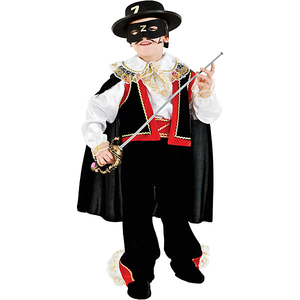 Карнавальный костюм Veneziano Зорро для мальчикаКарнавальные костюмы для мальчиков<br>Характеристики товара:<br><br>• цвет: черный;<br>• состав: 80% полиэстер, 20% акрил;<br>• в комплекте: кофта с плащом, штаны, сапоги, шляпа, маска и шпага;<br>• сезон: круглый год;<br>• страна бренда: Италия;<br>• страна изготовитель: Италия.<br><br>Итальянский карнавальный костюм Veneziano «Зорро» Кто этот загадочный герой? Будут спрашивать на празднике принцесса и королева. Это же Он Зорро, загадочный и благородный. Его лицо закрыто маской, на голове шляпа с литерой «Z». Великолепная шпага, его сопровождает везде. Он великолепен и опасен.<br><br>Карнавальный костюм Veneziano можно купить в нашем интернет-магазине.<br>Ширина мм: 236; Глубина мм: 16; Высота мм: 184; Вес г: 177; Цвет: разноцветный; Возраст от месяцев: 72; Возраст до месяцев: 84; Пол: Мужской; Возраст: Детский; Размер: 122,134; SKU: 7336836;
