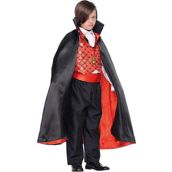 Карнавальный костюм Veneziano Граф Дракула для мальчикаКарнавальные костюмы для мальчиков<br>Характеристики товара:<br><br>• цвет: черный;<br>• состав: 80% полиэстер, 20% акрил;<br>• в комплекте: кофта с плащом, штаны, украшение на шею;<br>• внимание: обувь в комплект не входит!;<br>• сезон: круглый год;<br>• страна бренда: Италия;<br>• страна изготовитель: Италия.<br><br>Итальянский карнавальный костюм Veneziano «Граф Дракула» Карнавал в Венеции не обходиться без Графа и в этом нам помогли итальянские дизайнеры «Veneziano». Черный плащ на красной подкладке дополняет образ Графа. Украшение на шее. Ваш ребёнок станет заметной фигурой на любом празднике. Обувь в комплект не входит. <br><br>Карнавальный костюм Veneziano можно купить в нашем интернет-магазине.<br>Ширина мм: 236; Глубина мм: 16; Высота мм: 184; Вес г: 177; Цвет: разноцветный; Возраст от месяцев: 72; Возраст до месяцев: 84; Пол: Мужской; Возраст: Детский; Размер: 122,140,134,128; SKU: 7336839;