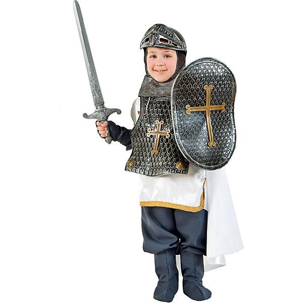 Карнавальный костюм Veneziano Рыцарь для мальчикаКарнавальные костюмы для мальчиков<br>Характеристики товара:<br><br>• цвет: серый;<br>• состав: 80% полиэстер, 20% акрил;<br>• в комплекте: кофта и штаны, кольчуга, обувь, шлем, меч и щит;<br>• сезон: круглый год;<br>• страна бренда: Италия;<br>• страна изготовитель: Италия.<br><br>Итальянский карнавальный костюм Veneziano «Рыцарь». Отличный карнавальный костюм, представленный итальянским брендом Veneziano. Большое количество аксессуаров не оставит равнодушным и позволит интересно провести время с друзьями сражаясь за честь принцессы. Меч, шлем, щит и кольчуга- всё это дополняет и украшает костюм.<br><br>Карнавальный костюм Veneziano можно купить в нашем интернет-магазине.<br>Ширина мм: 236; Глубина мм: 16; Высота мм: 184; Вес г: 177; Цвет: разноцветный; Возраст от месяцев: 96; Возраст до месяцев: 108; Пол: Мужской; Возраст: Детский; Размер: 134,140; SKU: 7336844;