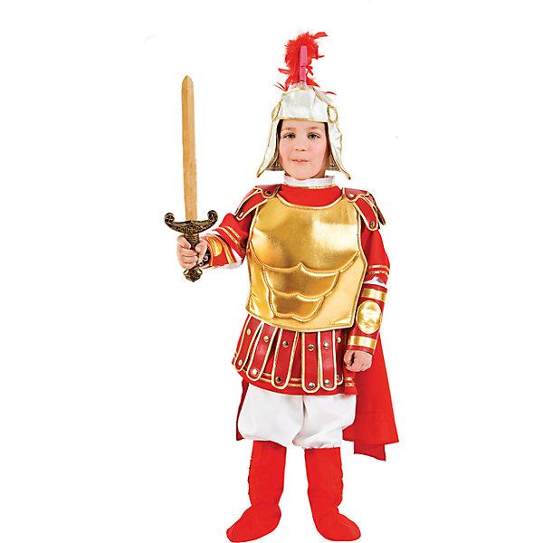 Карнавальный костюм Veneziano Римский гладиатор для мальчикаКарнавальные костюмы для мальчиков<br>Характеристики товара:<br><br>• цвет: красный/золотой;<br>• состав: 80% полиэстер, 20% акрил;<br>• в комплекте: кофта с плащом, штаны, броня, обувь, шлем и меч;<br>• сезон: круглый год;<br>• страна бренда: Италия;<br>• страна изготовитель: Италия.<br><br>Итальянский карнавальный костюм Veneziano «Римский Гладиатор» Облечённый в «золотые доспехи» и вооружившись золотым мечом он будет сражаться на арене Колизея. Этот костюм богат красивыми клёпками на красном кафтане, красный плащ будет развиваться при ветре. Сапоги дополняют образ. Ваш гладиатор готов к сражению. <br><br>Карнавальный костюм Veneziano можно купить в нашем интернет-магазине.<br>Ширина мм: 236; Глубина мм: 16; Высота мм: 184; Вес г: 177; Цвет: разноцветный; Возраст от месяцев: 108; Возраст до месяцев: 120; Пол: Мужской; Возраст: Детский; Размер: 140,128; SKU: 7336847;