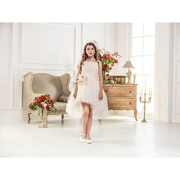 Нарядное платье Les Gamins для девочкиОдежда<br>Характеристики товара:<br><br>• цвет: молочный;<br>• состав: 55% полиэстер, 45% вискоза;<br>• подкладка: 100% хлопок;<br>• сезон: круглый год;<br>• платье на лямках;<br>• в комплекте: болеро и ободок;<br>• верх платья украшен пайетками;<br>• страна бренда: Италия;<br>• страна изготовитель: Китай.<br><br>Нарядное платье Les Gamins для девочки. Каждая девочка любит платья-пачки. Платье на лямках, верх платья расшит пайетками, низ платья-пачка. На поясе цветок выполненный итальянскими дизайнерами, такой же цветок на ободке, который идёт в комплекте с платьем. К платью прилагается болеро.<br><br>Нарядное платье Les Gamins для девочки можно купить в нашем интернет-магазине.<br>Ширина мм: 236; Глубина мм: 16; Высота мм: 184; Вес г: 177; Цвет: бежевый; Возраст от месяцев: 156; Возраст до месяцев: 168; Пол: Женский; Возраст: Детский; Размер: 164,128,134,140,146,152,158; SKU: 7336886;
