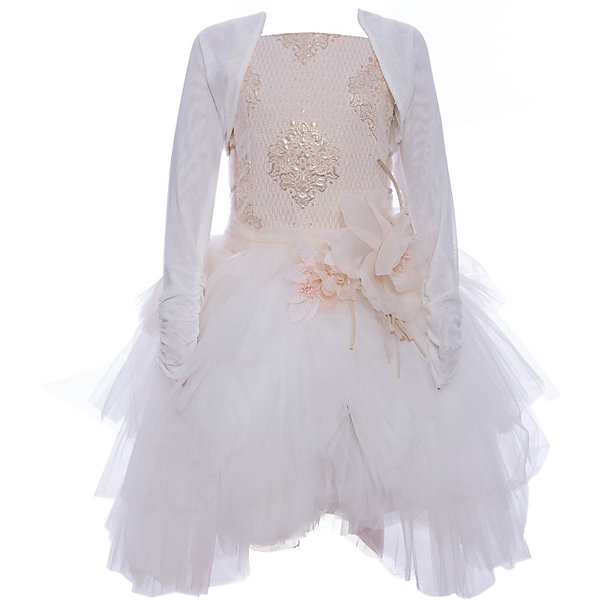 Нарядное платье Les Gamins для девочкиОдежда<br>Детское платье Les Gamins для девочки<br>Праздничное бунтарство наших милых подростков отражается в характере этого платья. А всё это благодаря юбке-пачке не совсем стандартной, но в то же время элегантной и праздничной. Верх платья Les Gamins Cerimonia расшит паетками, а юбка-пачка из нежного фатина будет самым любимым Вашей модницы. В комплект так же входит болеро и ободок с такими же цветками, как на поясе. Цветок можно легко отстегнуть. Подкладка 100% хлопок, верхняя часть платья 55% полиэстер, 45% вискоза.<br>Состав:<br>55% полиэстер 45% вискоза подкладка 100% хлопок<br><br>Ширина мм: 236<br>Глубина мм: 16<br>Высота мм: 184<br>Вес г: 177<br>Цвет: бежевый<br>Возраст от месяцев: 132<br>Возраст до месяцев: 144<br>Пол: Женский<br>Возраст: Детский<br>Размер: 152,164,158,140,134,128,146<br>SKU: 7336910