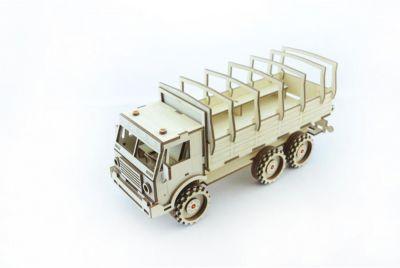 Сборная деревянная модель Lemmo Военный грузовик , подвижная