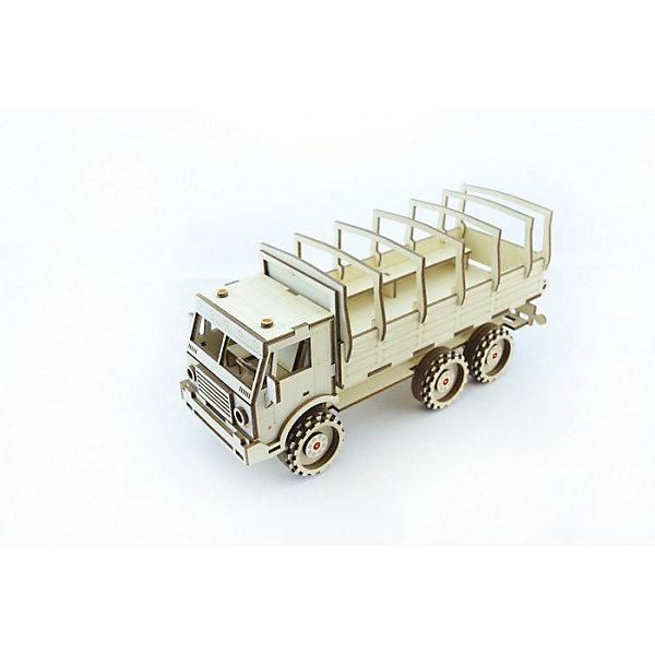Сборная деревянная модель Lemmo Военный грузовик, подвижнаяДеревянные модели<br>Характеристики:<br><br>• тип игрушки: конструктор<br>• возраст: от 5 лет;<br>• количество деталей: 109 шт;<br>• комплектация: клей ПВА, наждачная бумага, подробная инструкция;<br>• размер: 32x22х5 см;<br>• вес: 440 гр;<br>• бренд: Lemmo;<br>• материал: дерево.<br><br>Конструктор 3D подвижный Lemmo «Военный Грузовик» - это небольшой набор, средний по уровню сложности, подойдет для самостоятельной сборки детям от 5 лет, а детям помладше понадобится помощь родителей. В собранном виде у грузовика крутятся колеса, и он отлично ездит по любой поверхности.<br><br>Экологически чистые, развивающие конструкторы от российского производителя «Lemmo» помогут вашему ребенку развить мелкую моторику рук, воображение, пространственное мышление, логику и предметное моделирование.<br><br>Все детали выполнены из качественной древесины и имеют сильный насыщенный запах дерева. Наборы укомплектованы клеем ПВА и наждачной бумагой. Любой конструктор после сборки можно раскрасить акриловыми и гуашевыми красками, но даже без этого в результате получается полноценная красивая игрушка с подвижными элементами. <br><br>Конструктор 3D подвижный Lemmo «Военный Грузовик» можно купить в нашем интернет-магазине.<br>Ширина мм: 320; Глубина мм: 220; Высота мм: 50; Вес г: 440; Возраст от месяцев: 60; Возраст до месяцев: 2147483647; Пол: Мужской; Возраст: Детский; SKU: 7338204;