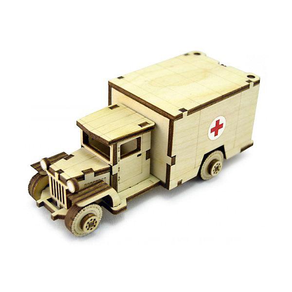 Сборная деревянная модель Lemmo Советский грузовик ЗИС-5м, подвижнаяДеревянные модели<br>Характеристики:<br><br>• тип игрушки: конструктор<br>• возраст: от 5 лет;<br>• количество деталей: 34 шт;<br>• комплектация: клей ПВА, наждачная бумага, подробная инструкция;<br>• размер: 20x10х1 см;<br>• вес: 70 гр;<br>• бренд: Lemmo;<br>• материал: дерево.<br><br>Конструктор 3D подвижный Lemmo «Советский грузовик ЗИС-5м» - это небольшой набор, подойдет для самостоятельной сборки детям от 5 лет, а детям помладше понадобится помощь родителей. В собранном виде у грузовика крутятся колеса, открывается задняя дверь, и он отлично ездит по любой поверхности.<br><br>Экологически чистые, развивающие конструкторы от российского производителя «Lemmo» помогут вашему ребенку развить мелкую моторику рук, воображение, пространственное мышление, логику и предметное моделирование.<br><br>Все детали выполнены из качественной древесины и имеют сильный насыщенный запах дерева. Наборы укомплектованы клеем ПВА и наждачной бумагой. Любой конструктор после сборки можно раскрасить акриловыми и гуашевыми красками, но даже без этого в результате получается полноценная красивая игрушка с подвижными элементами. <br><br>Конструктор 3D подвижный Lemmo «Советский грузовик ЗИС-5м» можно купить в нашем интернет-магазине.<br><br>Ширина мм: 200<br>Глубина мм: 100<br>Высота мм: 10<br>Вес г: 70<br>Возраст от месяцев: 60<br>Возраст до месяцев: 2147483647<br>Пол: Мужской<br>Возраст: Детский<br>SKU: 7338206