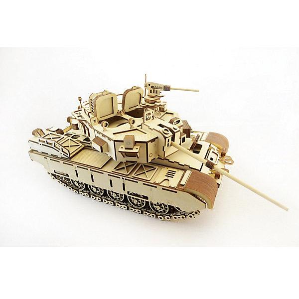 Сборная деревянная модель Lemmo Танк кайман, подвижнаяДеревянные модели<br>Характеристики:<br><br>• тип игрушки: конструктор<br>• возраст: от 9 лет;<br>• количество деталей: 801 шт;<br>• комплектация: клей ПВА, наждачная бумага, подробная инструкция, набор запасных деталей;<br>• размер: 44x31х4,5 см;<br>• вес: 1,9 кг;<br>• бренд: Lemmo;<br>• материал: дерево.<br><br>Конструктор 3D подвижный Lemmo «Танк Кайман» - это интересный конструктор для детей и для взрослых, а также для любителей моделизма.  Конструктор рекомендован для детей от 9 лет, но разрешен от 5 лет. Рекомендуется помощь взрослых.<br><br>Танк сделан очень реалистично, у него вращаются гусеницы, башня, пулемет и дуло, открываются люки. Абсолютно все детали выполнены из дерева, гусеницы собираются из множества мелких перемычек, поэтому танки лучше ездят по ковровым покрытиям или по поверхностям с небольшой шероховатостью.<br><br>Экологически чистые, развивающие конструкторы от российского производителя «Lemmo» помогут вашему ребенку развить мелкую моторику рук, воображение, пространственное мышление, логику и предметное моделирование.<br><br>Конструктор 3D подвижный Lemmo «Танк Кайман» можно купить в нашем интернет-магазине.<br>Ширина мм: 440; Глубина мм: 310; Высота мм: 45; Вес г: 1900; Возраст от месяцев: 60; Возраст до месяцев: 2147483647; Пол: Мужской; Возраст: Детский; SKU: 7338216;