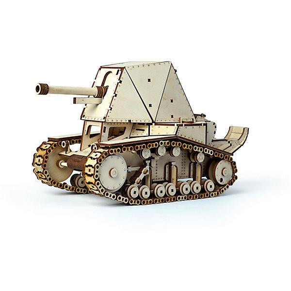 Сборная деревянная модель Lemmo Танк СУ-18, подвижнаяДеревянные модели<br>Характеристики:<br><br>• тип игрушки: конструктор<br>• возраст: от 9 лет;<br>• количество деталей: 561 шт;<br>• комплектация: клей ПВА, наждачная бумага, подробная инструкция, набор запасных деталей, историческая справка о модели;<br>• размер: 32x22х4,5 см;<br>• вес: 630 гр;<br>• бренд: Lemmo;<br>• материал: дерево.<br><br>Конструктор 3D подвижный Lemmo «Танк СУ-18» - это интересный конструктор для детей и для взрослых, а также для любителей моделизма.  Конструктор рекомендован для детей от 9 лет, но разрешен от 5 лет. Рекомендуется помощь взрослых.<br><br>В этом наборе очень много мелких деталей, процесс сборки потребует много вашего времени и внимания, но в результате у вас получится довольно большой и подвижный танк с вращающимися гусеницами и вращающимся дулом, кроме того у танка открываются дверцы.<br><br>Обращаем ваше внимание на то, что абсолютно все детали игрушки выполнены из дерева, гусеницы собираются из множества мелких перемычек, поэтому гусеничная техника лучше ездит по ковровым покрытиям или по поверхностям с небольшой шероховатостью.<br><br>Экологически чистые, развивающие конструкторы от российского производителя «Lemmo» помогут вашему ребенку развить мелкую моторику рук, воображение, пространственное мышление, логику и предметное моделирование.<br><br>Конструктор 3D подвижный Lemmo «Танк СУ-18» можно купить в нашем интернет-магазине.<br>Ширина мм: 320; Глубина мм: 220; Высота мм: 45; Вес г: 630; Возраст от месяцев: 60; Возраст до месяцев: 2147483647; Пол: Мужской; Возраст: Детский; SKU: 7338217;