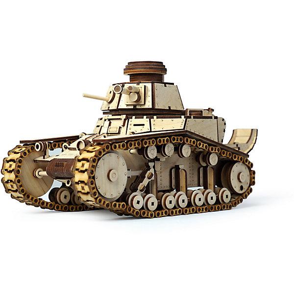 Сборная деревянная модель Lemmo Танк МС-1, подвижнаяДеревянные модели<br>Характеристики:<br><br>• тип игрушки: конструктор<br>• возраст: от 9 лет;<br>• количество деталей: 574 шт;<br>• комплектация: клей ПВА, наждачная бумага, подробная инструкция, набор запасных деталей, историческая справка о модели;<br>• размер: 32x22х4,5 см;<br>• вес: 650 гр;<br>• бренд: Lemmo;<br>• материал: дерево.<br><br>Конструктор 3D подвижный Lemmo «Танк МС-1» - это интересный конструктор для детей и для взрослых, а также для любителей моделизма.  Конструктор рекомендован для детей от 9 лет, но разрешен от 5 лет. Рекомендуется помощь взрослых.<br><br>В этом наборе очень много мелких деталей, процесс сборки потребует много вашего времени и внимания, но в результате у вас получится довольно большой и подвижный танк с вращающимися гусеницами и вращающимся дулом, кроме того у танка открываются дверцы.<br><br>Обращаем ваше внимание на то, что абсолютно все детали игрушки выполнены из дерева, гусеницы собираются из множества мелких перемычек, поэтому гусеничная техника лучше ездит по ковровым покрытиям или по поверхностям с небольшой шероховатостью.<br><br>Экологически чистые, развивающие конструкторы от российского производителя «Lemmo» помогут вашему ребенку развить мелкую моторику рук, воображение, пространственное мышление, логику и предметное моделирование.<br><br>Конструктор 3D подвижный Lemmo «Танк МС-1» можно купить в нашем интернет-магазине.<br><br>Ширина мм: 320<br>Глубина мм: 220<br>Высота мм: 45<br>Вес г: 650<br>Возраст от месяцев: 60<br>Возраст до месяцев: 2147483647<br>Пол: Мужской<br>Возраст: Детский<br>SKU: 7338218