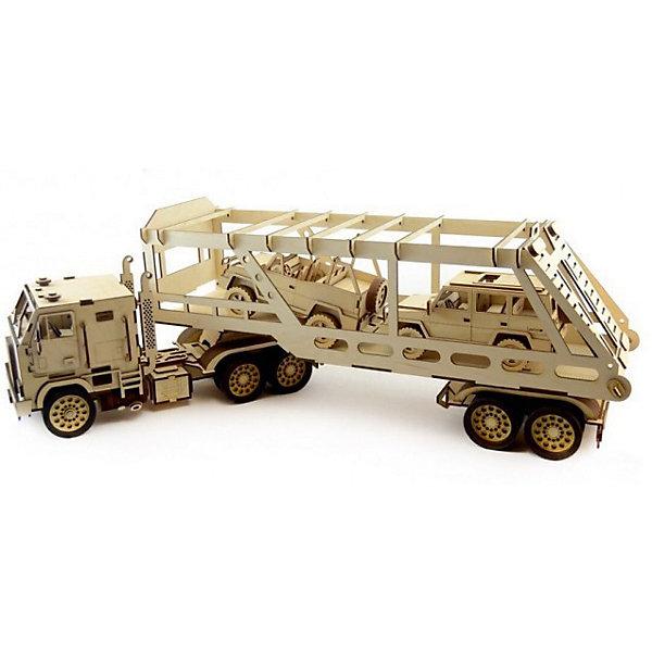 Сборная деревянная модель Lemmo Автовоз, подвижнаяДеревянные модели<br>Характеристики:<br><br>• тип игрушки: конструктор<br>• возраст: от 9 лет;<br>• количество деталей: 326 шт;<br>• комплектация: наждачная бумага, подробная инструкция, клей ПВА;<br>• размер: 66x41х4,5 см;<br>• вес: 2,2 кг;<br>• бренд: Lemmo;<br>• материал: дерево.<br><br>Конструктор 3D подвижный Lemmo «Автовоз» - станет отличным подарком и для детей и для взрослых. Это один из самых больших наборов Леммо - длина собранного грузовика с прицепом составляет 82 см. При этом сборка этой модели не очень сложная, так как в конструкторе преобладают крупные детали.  <br><br>Собранный грузовик приведет в восторг мальчишек и их пап - у автовоза крутятся колеса, опускается погрузочный мостик, открываются дверцы кабины, снимается прицеп. Машина отлично ездит по любой поверхности.<br><br>Экологически чистые, развивающие конструкторы от российского производителя «Lemmo» помогут вашему ребенку развить мелкую моторику рук, воображение, пространственное мышление, логику и предметное моделирование.<br><br>Все детали выполнены из качественной древесины и имеют сильный насыщенный запах дерева. Наборы укомплектованы клеем ПВА и наждачной бумагой. Любой конструктор после сборки можно раскрасить акриловыми и гуашевыми красками, но даже без этого в результате получается полноценная красивая игрушка с подвижными элементами.<br><br>Конструктор 3D подвижный Lemmo «Автовоз» можно купить в нашем интернет-магазине.<br>Ширина мм: 660; Глубина мм: 410; Высота мм: 45; Вес г: 2200; Возраст от месяцев: 60; Возраст до месяцев: 2147483647; Пол: Мужской; Возраст: Детский; SKU: 7338226;