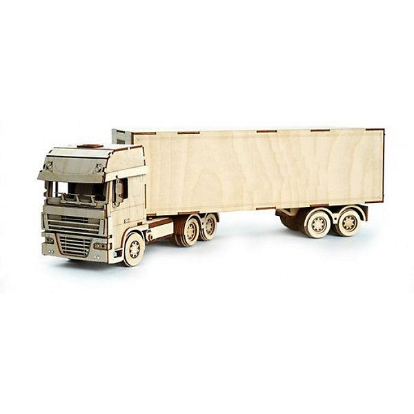 Сборная деревянная модель Lemmo Грузовик с прицепом, подвижнаяДеревянные модели<br>Характеристики:<br><br>• тип игрушки: конструктор<br>• возраст: от 5 лет;<br>• количество деталей: 268 шт;<br>• комплектация: наждачная бумага, подробная инструкция, клей ПВА;<br>• размер: 44x41х4,5 см;<br>• вес: 1,2 кг;<br>• бренд: Lemmo;<br>• материал: дерево.<br><br>Конструктор 3D подвижный Lemmo «Грузовик с прицепом» - рекомендован для детей от 5 лет, но в нем довольно много деталей, поэтому ребенку немного потребуется помощь. Длина собранной модели составляет 50 см. Грузовик большой и солидный, сделан очень реалистично, прицеп имеет такое крепление, чтобы он поворачивался при поворотах, колеса отлично крутятся по любой поверхности, дверцы кабины и прицепа открываются. <br><br>Экологически чистые, развивающие конструкторы от российского производителя «Lemmo» помогут вашему ребенку развить мелкую моторику рук, воображение, пространственное мышление, логику и предметное моделирование.<br><br>Все детали выполнены из качественной древесины и имеют сильный насыщенный запах дерева. Наборы укомплектованы клеем ПВА и наждачной бумагой. Любой конструктор после сборки можно раскрасить акриловыми и гуашевыми красками, но даже без этого в результате получается полноценная красивая игрушка с подвижными элементами.<br><br>Конструктор 3D подвижный Lemmo «Грузовик с прицепом» можно купить в нашем интернет-магазине.<br>Ширина мм: 440; Глубина мм: 310; Высота мм: 45; Вес г: 1200; Возраст от месяцев: 60; Возраст до месяцев: 2147483647; Пол: Мужской; Возраст: Детский; SKU: 7338227;
