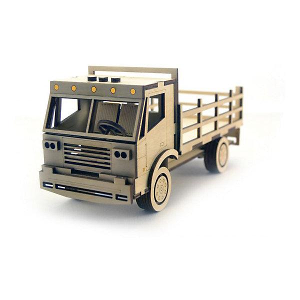 Сборная деревянная модель Lemmo Грузовик с кузовом, подвижнаяДеревянные модели<br>Характеристики:<br><br>• тип игрушки: конструктор<br>• возраст: от 5 лет;<br>• количество деталей: 74 шт;<br>• комплектация: наждачная бумага, подробная инструкция, клей ПВА;<br>• размер: 22x14,5х3,5 см;<br>• вес: 450 гр;<br>• бренд: Lemmo;<br>• материал: дерево.<br><br>Конструктор 3D подвижный Lemmo «Грузовик с кузовом»  станет отличным подарком для маленьких любителей военной и гражданской техники. Этот небольшой набор, средний по уровню сложности, рекомендован детям от 5 лет. В собранном виде у грузовика крутятся колеса, и он отлично ездит по любой поверхности.<br><br>Экологически чистые, развивающие конструкторы от российского производителя «Lemmo» помогут вашему ребенку развить мелкую моторику рук, воображение, пространственное мышление, логику и предметное моделирование.<br><br>Все детали выполнены из качественной древесины и имеют сильный насыщенный запах дерева. Наборы укомплектованы клеем ПВА и наждачной бумагой. Любой конструктор после сборки можно раскрасить акриловыми и гуашевыми красками, но даже без этого в результате получается полноценная красивая игрушка с подвижными элементами.<br><br>Конструктор 3D подвижный Lemmo «Грузовик с кузовом» можно купить в нашем интернет-магазине.<br>Ширина мм: 220; Глубина мм: 145; Высота мм: 35; Вес г: 450; Возраст от месяцев: 60; Возраст до месяцев: 2147483647; Пол: Мужской; Возраст: Детский; SKU: 7338228;