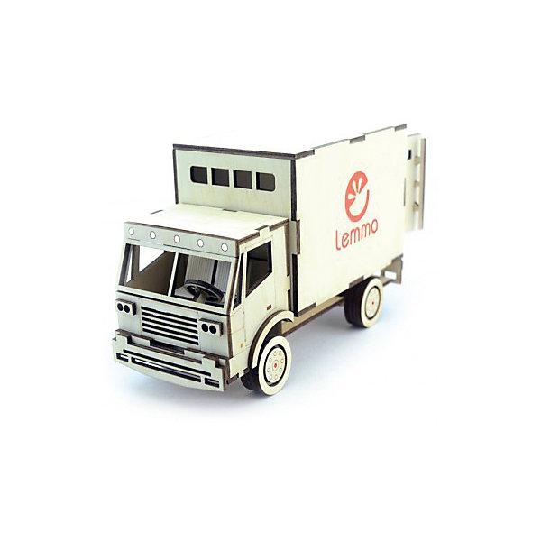 Сборная деревянная модель Lemmo Грузовик Фургон, подвижнаяДеревянные модели<br>Характеристики:<br><br>• тип игрушки: конструктор<br>• возраст: от 5 лет;<br>• количество деталей: 82 шт;<br>• комплектация: наждачная бумага, подробная инструкция, клей ПВА;<br>• размер: 22x14,5х5,5 см;<br>• вес: 500 гр;<br>• бренд: Lemmo;<br>• материал: дерево.<br><br>Конструктор 3D подвижный Lemmo «Грузовик Фургон»  станет отличным подарком для маленьких любителей строительной техники. Этот небольшой набор, средний по уровню сложности, рекомендован детям от 5 лет. В собранном виде у грузовика вращаются колеса, открываются дверцы кузова, выдвигается «мостик».<br><br>Экологически чистые, развивающие конструкторы от российского производителя «Lemmo» помогут вашему ребенку развить мелкую моторику рук, воображение, пространственное мышление, логику и предметное моделирование.<br><br>Все детали выполнены из качественной древесины и имеют сильный насыщенный запах дерева. Наборы укомплектованы клеем ПВА и наждачной бумагой. Любой конструктор после сборки можно раскрасить акриловыми и гуашевыми красками, но даже без этого в результате получается полноценная красивая игрушка с подвижными элементами.<br><br>Конструктор 3D подвижный Lemmo «Грузовик Фургон» можно купить в нашем интернет-магазине.<br>Ширина мм: 220; Глубина мм: 145; Высота мм: 55; Вес г: 500; Возраст от месяцев: 60; Возраст до месяцев: 2147483647; Пол: Мужской; Возраст: Детский; SKU: 7338229;