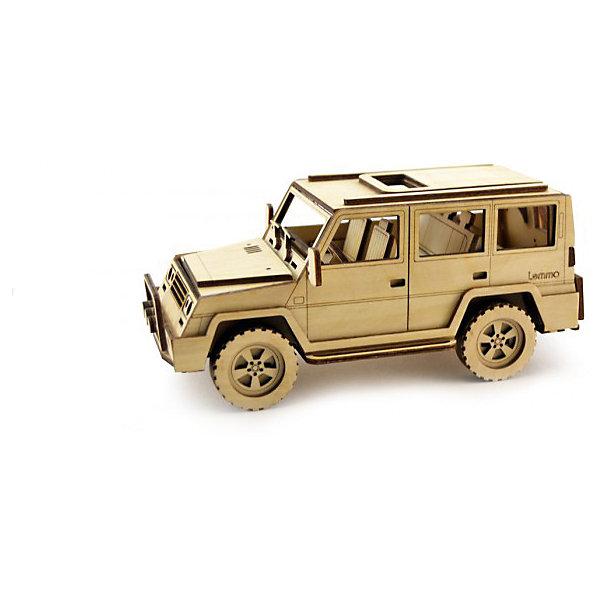 Сборная деревянная модель Lemmo Внедорожник Парламент, подвижнаяДеревянные модели<br>Характеристики:<br><br>• тип игрушки: конструктор<br>• возраст: от 5 лет;<br>• количество деталей: 88  шт;<br>• комплектация: наждачная бумага, подробная инструкция, клей ПВА;<br>• размер: 32x22х4,5 см;<br>• вес: 470 гр;<br>• бренд: Lemmo;<br>• материал: дерево.<br><br>Конструктор 3D подвижный Lemmo «Внедорожник Парламент»  станет прекрасным подарком для мальчишек в возрасте от 5 лет. У собранной модели крутятся колеса. Машина отлично ездит по любой поверхности.<br><br>Экологически чистые, развивающие конструкторы от российского производителя «Lemmo» помогут вашему ребенку развить мелкую моторику рук, воображение, пространственное мышление, логику и предметное моделирование.<br><br>Все детали выполнены из качественной древесины и имеют сильный насыщенный запах дерева. Наборы укомплектованы клеем ПВА и наждачной бумагой. Любой конструктор после сборки можно раскрасить акриловыми и гуашевыми красками, но даже без этого в результате получается полноценная красивая игрушка с подвижными элементами.<br><br>Конструктор 3D подвижный Lemmo «Внедорожник Парламент» можно купить в нашем интернет-магазине.<br><br>Ширина мм: 320<br>Глубина мм: 220<br>Высота мм: 45<br>Вес г: 470<br>Возраст от месяцев: 60<br>Возраст до месяцев: 2147483647<br>Пол: Унисекс<br>Возраст: Детский<br>SKU: 7338233