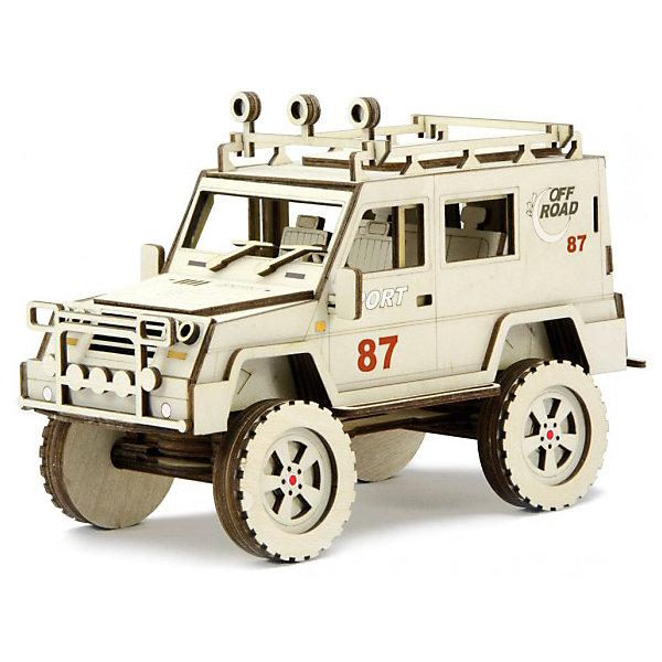 Сборная деревянная модель Lemmo Внедорожник Спорт, подвижнаяДеревянные модели<br>Характеристики:<br><br>• тип игрушки: конструктор<br>• возраст: от 5 лет;<br>• количество деталей: 98  шт;<br>• комплектация: наждачная бумага, подробная инструкция, клей ПВА;<br>• размер: 32x22х4,5 см;<br>• вес: 440 гр;<br>• бренд: Lemmo;<br>• материал: дерево.<br><br>Конструктор 3D подвижный Lemmo «Внедорожник Спорт» станет прекрасным подарком для мальчишек в возрасте от 5 лет. У собранной модели крутятся колеса, и открывается задняя дверь. Машина отлично ездит по любой поверхности.<br><br>Экологически чистые, развивающие конструкторы от российского производителя «Lemmo» помогут вашему ребенку развить мелкую моторику рук, воображение, пространственное мышление, логику и предметное моделирование.<br><br>Все детали выполнены из качественной древесины и имеют сильный насыщенный запах дерева. Наборы укомплектованы клеем ПВА и наждачной бумагой. Любой конструктор после сборки можно раскрасить акриловыми и гуашевыми красками, но даже без этого в результате получается полноценная красивая игрушка с подвижными элементами.<br><br>Конструктор 3D подвижный Lemmo «Внедорожник Спорт» можно купить в нашем интернет-магазине.<br>Ширина мм: 320; Глубина мм: 220; Высота мм: 45; Вес г: 440; Возраст от месяцев: 60; Возраст до месяцев: 2147483647; Пол: Унисекс; Возраст: Детский; SKU: 7338234;