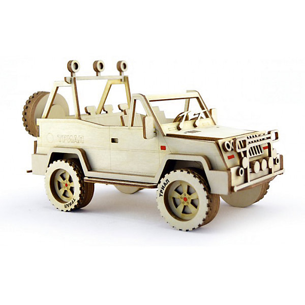 Сборная деревянная модель Lemmo Внедорожник Триал, подвижнаяДеревянные модели<br>Характеристики:<br><br>• тип игрушки: конструктор<br>• возраст: от 5 лет;<br>• количество деталей: 107 шт;<br>• комплектация: наждачная бумага, подробная инструкция, клей ПВА;<br>• размер: 32x22х4,5 см;<br>• вес: 410 гр;<br>• бренд: Lemmo;<br>• материал: дерево.<br><br>Конструктор 3D подвижный Lemmo «Внедорожник Триал» станет прекрасным подарком для мальчишек в возрасте от 5 лет. У собранной модели крутятся колеса. Машина отлично ездит по любой поверхности.<br><br>Экологически чистые, развивающие конструкторы от российского производителя «Lemmo» помогут вашему ребенку развить мелкую моторику рук, воображение, пространственное мышление, логику и предметное моделирование.<br><br>Все детали выполнены из качественной древесины и имеют сильный насыщенный запах дерева. Наборы укомплектованы клеем ПВА и наждачной бумагой. Любой конструктор после сборки можно раскрасить акриловыми и гуашевыми красками, но даже без этого в результате получается полноценная красивая игрушка с подвижными элементами.<br><br>Конструктор 3D подвижный Lemmo «Внедорожник Триал» можно купить в нашем интернет-магазине.<br>Ширина мм: 320; Глубина мм: 220; Высота мм: 45; Вес г: 410; Возраст от месяцев: 60; Возраст до месяцев: 2147483647; Пол: Унисекс; Возраст: Детский; SKU: 7338235;