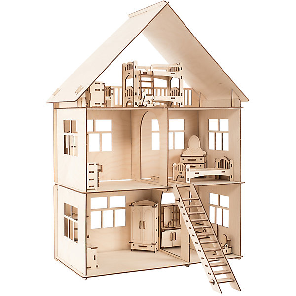 Сборная деревянная модель Хэппикон ХэппиДом. Коттедж с мебельюДеревянные модели<br>Характеристики:<br><br>• тип игрушки: конструктор<br>• возраст: от 5 лет;<br>• количество деталей: 247 шт;<br>• комплектация: детали для домика, наборы мебели во все комнаты, инструкции, яркая упаковка;<br>• размер: 42x28х4 см;<br>• вес: 2 кг;<br>• материал: дерево.<br><br>Конструктор ХэппиДом «Коттедж с мебелью» из дерева - это первая модель новой серии кукольных домиков и построек от компании «Хэппикон». Дом собирается без использования клея, все элементы легко и прочно соединяются друг с другом, а в случае переезда вы сможете также легко и быстро его разобрать. <br><br>Трехэтажный дом в собранном виде занимает не очень много места в детской комнате, при этом внутри он довольно вместительный и просторный. В здании размещается пять комнат: зал, ванная, спальня, туалет, детская и кухня. Лучше всего для такого дома подходят куколки и герои ваших любимых мультфильмов высотой до 13 см. <br><br>Стены с внешней стороны можно окрасить акриловыми или гуашевыми красками. Изделие выполнено из гладкой березовой фанеры, не имеющей заусенцев, поэтому удобно для покраски и безопасно для сборки. <br><br>Конструктор ХэппиДом «Коттедж с мебелью» из дерева можно купить в нашем интернет-магазине.<br>Ширина мм: 420; Глубина мм: 280; Высота мм: 40; Вес г: 2000; Возраст от месяцев: 60; Возраст до месяцев: 2147483647; Пол: Женский; Возраст: Детский; SKU: 7338239;