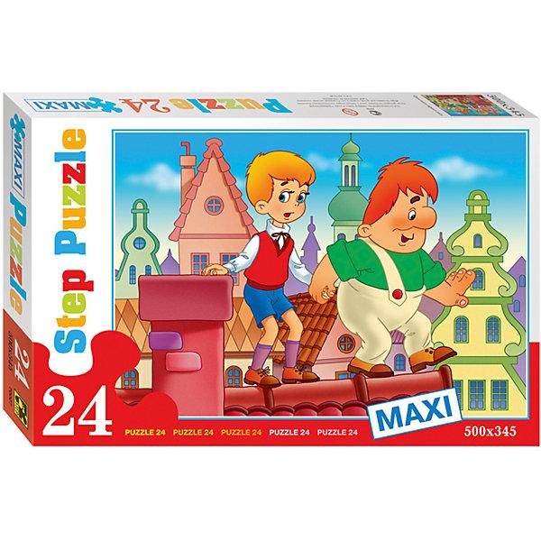 Пазл Maxi Step Puzzle Опасная прогулка, 24 элементаПазлы для малышей<br>Характеристики товара:<br><br>• возраст: от 3 лет;<br>• количество элементов: 24;<br>• материал: картон;<br>• размер собранного пазла: 50х34,5 см;<br>• упаковка: картонная коробка;<br>• размер упаковки: 38х25х5 см;<br>• бренд, страна производства: STEP puzzle, Россия.<br><br>Макси-пазл «Опасная прогулка» состоит из 24 крупных и ярких элементов с изображением любимых героев советского мультфильма «Малыш и Карлсон». Предназначен для самых маленьких детей, которые  только начинают знакомство с пазлами.<br><br>Пазл упакован в картонную коробку с изображением основной картинки, на которую удобно ориентироваться при сборке. <br><br>Пазл сделан из прочных и качественных, нетоксичных и гипоаллергенных материалов. Собирая пазл, ребенок будет развивать концентрацию внимания, память, визуальное восприятие, логическое мышление и мелкую моторику рук.<br><br>Макси-пазл «Опасная прогулка», 24 элемента можно купить в нашем интернет-магазине.<br>Ширина мм: 375; Глубина мм: 245; Высота мм: 40; Вес г: 658; Возраст от месяцев: 36; Возраст до месяцев: 2147483647; Пол: Унисекс; Возраст: Детский; SKU: 7338298;
