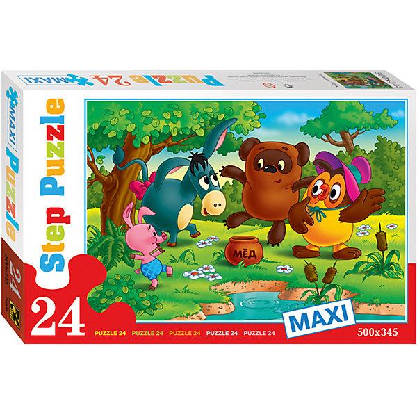 Пазл Maxi Step Puzzle Винни-Пух, 24 элементаПазлы для малышей<br>Пазл Винни Пух создан по мотивам любимого советского мультфильма «Винни Пух».<br><br><br><br>Винни Пух - медвежонок, который любит мед и хорошо покушать, именно поэтому он часто попадает в смешные и безвыходные ситуации. У Винни Пуха есть друзья - поросёнок Пятачок, ослик Иа и мудрая Сова, вместе они играют, путешествуют и веселятся.<br><br><br><br>Пазлы совершенствуют внимание и память, тренируют мелкую моторику, а также способствуют развитию образного и логического мышления.<br><br><br><br>Характеристики пазла:<br><br><br><br>•качественное изображение;<br>•большие детали пазла (8 ? 8,5 см) - подходят для детей от 3х лет, удобны в манипулировании, эргономичны для детской руки;<br>•экологически чистые, нетоксичные материалы. (компания Step Puzzle гарантирует высокое качество пазла и точность подгонки).<br><br>Размер собранного изображения - 50 ? 34,5 см.<br><br>Ширина мм: 375<br>Глубина мм: 245<br>Высота мм: 40<br>Вес г: 658<br>Возраст от месяцев: 36<br>Возраст до месяцев: 2147483647<br>Пол: Унисекс<br>Возраст: Детский<br>SKU: 7338299