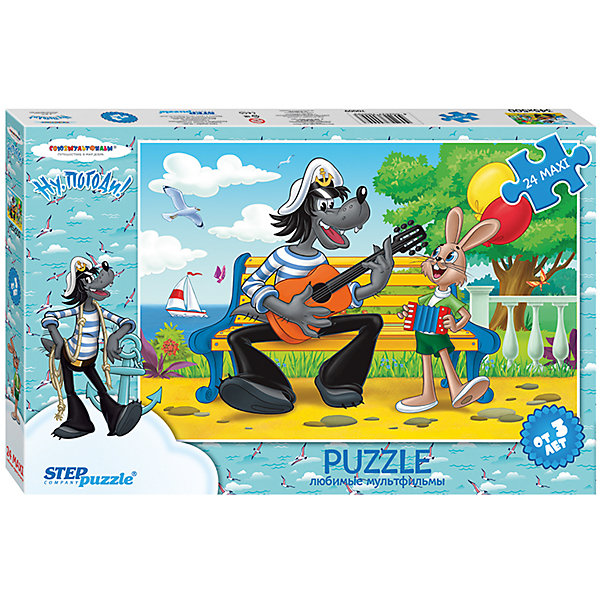 Пазл Maxi Step Puzzle Ну, погоди!, 24 элементаПазлы для малышей<br>Характеристики товара:<br><br>• возраст: от 3 лет;<br>• количество элементов: 24;<br>• материал: картон;<br>• размер собранного пазла: 50х34,5 см;<br>• упаковка: картонная коробка;<br>• размер упаковки: 38х25х5 см;<br>• бренд, страна производства: STEP puzzle, Россия.<br><br>Макси-пазл «Ну,погоди! - 2» состоит из 24 крупных и ярких элементов с изображением любимых героев одноименного мультфильма. Предназначен для самых маленьких детей, которые  только начинают знакомство с пазлами.<br><br>Пазл упакован в картонную коробку с изображением основной картинки, на которую удобно ориентироваться при сборке. <br><br>Пазл сделан из прочных и качественных, нетоксичных и гипоаллергенных материалов. Собирая пазл, ребенок будет развивать концентрацию внимания, память, визуальное восприятие, логическое мышление и мелкую моторику рук.<br><br>Макси-пазл «Ну,погоди! - 2», 24 элемента можно купить в нашем интернет-магазине.<br>Ширина мм: 375; Глубина мм: 245; Высота мм: 40; Вес г: 658; Возраст от месяцев: 36; Возраст до месяцев: 2147483647; Пол: Унисекс; Возраст: Детский; SKU: 7338300;