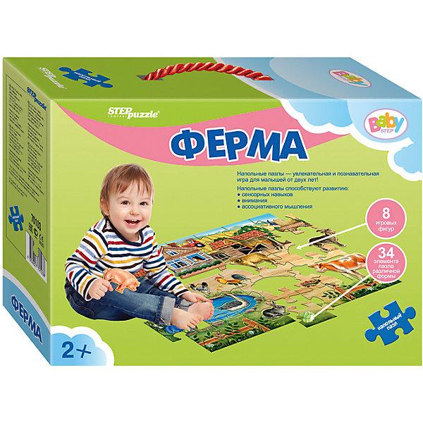 Напольный пазл Step Puzzle Ферма, 34 элементаКоврики-пазлы<br>Характеристики товара:<br><br>• возраст: от 2 лет;<br>• количество элементов: 8 фигурок и 34 элемента пазла;<br>• материал: картон;<br>• размер собранного пазла: 105х68 см;<br>• упаковка: картонная коробка с ручкой;<br>• размер упаковки: 34х25х10 см;<br>• бренд, страна производства: STEP puzzle, Россия.<br><br>Напольный пазл-мозаика «Ферма» - это занимательная игра для самых маленьких. Благодаря ей, уже с 2-х лет ваш малыш сможет активно развивать ассоциативное мышление, сенсорику, внимательность. <br> <br>Большой напольный пазл-мозайка включает в себя 8 фигурок дамашних животных и 34 элемента картины. Сделан из прочных и качественных, нетоксичных и гипоаллергенных материалов.<br><br>Ваш малыш сможет познакомиться с домашними животными, которые обитают на ферме, а также увеличить свой словарный запас.<br><br>Пазл упакован в картонную коробку с изображением основной картинки, на которую удобно ориентироваться при сборке. Пазл можно сибирать на полу.<br><br>Напольный пазл-мозаика «Ферма», 8 фигурок и 34 элемента пазла можно купить в нашем интернет-магазине.<br>Ширина мм: 340; Глубина мм: 250; Высота мм: 100; Вес г: 1325; Возраст от месяцев: 24; Возраст до месяцев: 2147483647; Пол: Унисекс; Возраст: Детский; SKU: 7338304;