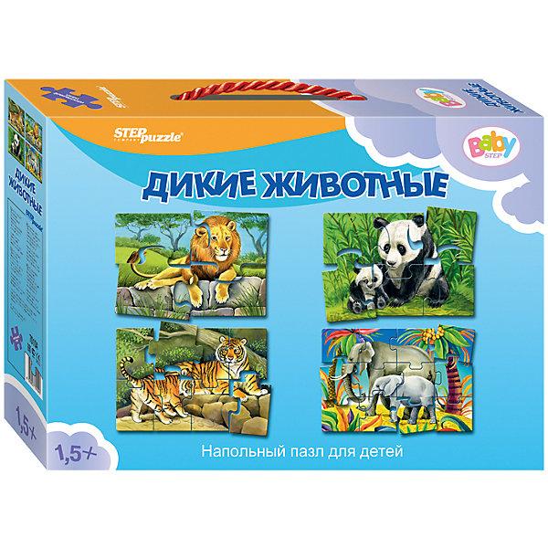 Напольный пазл 4 в 1 Step Puzzle Дикие животные, 4/6/8/12 элементовКоврики-пазлы<br>Характеристики товара:<br><br>• возраст: от 2 лет;<br>• комплект: 4 пазла;<br>• материал: картон;<br>• размер 1 собранного пазла: 33,5х16 см;<br>• упаковка: картонная коробка с ручкой;<br>• размер упаковки: 28х20х6 см;<br>• бренд, страна производства: STEP puzzle, Россия.<br><br>Напольный пазл-мозаика «Дикие животные» станет отличной развивающей игрушкой для малыша. <br><br>Большой напольный пазл-мозайка включает в себя набор из 4 картинок по 4, 6, 8 и 12 элементов. Пазл сделан из прочных и качественных, нетоксичных и гипоаллергенных материалов.<br><br>Собирая детали пазла, малыш познакомится с новыми для себя животными, увидит как они выглядят. На собранном коврике-пазле очень удобно сидеть и играть. Играя с таким ковриком, малыш сможет развивать моторику рук и тактильное восприятие.<br><br>Пазл упакован в картонную коробку с изображением основной картинки, на которую удобно ориентироваться при сборке. <br><br>Напольный пазл-мозаика «Дикие животные», набор 4 пазла можно купить в нашем интернет-магазине.<br>Ширина мм: 280; Глубина мм: 200; Высота мм: 60; Вес г: 384; Возраст от месяцев: 12; Возраст до месяцев: 2147483647; Пол: Унисекс; Возраст: Детский; SKU: 7338305;