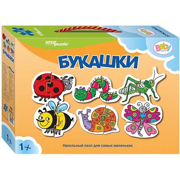 Напольный пазл 6 в 1 Step Puzzle Насекомые, по 2 элемента на каждую картинкуКоврики-пазлы<br>Характеристики товара:<br><br>• возраст: от 1 года;<br>• комплект: 6 пазлов по 2 элемента;<br>• материал: картон;<br>• размер 1 собранного пазла: 34х34 см;<br>• упаковка: картонная коробка с ручкой;<br>• размер упаковки: 24,5х17х5 см;<br>• бренд, страна производства: STEP puzzle, Россия.<br><br>Напольный пазл-мозаика «Букашки» станет отличной развивающей игрушкой для малыша. В комплект входят 6 пазлов по 2 элемента каждый, с изображением божьей коровки, гусеницы, кузнечика, улитки, пчелки и бабочки. Все детали пазла яркие, красочные, а главное – крупные.<br><br>Собирая детали пазла, малыш познакомится с различными насекомыми, увидит как они выглядят и увеличит свой словарный запас. Играя с таким пазлом-мозайкой, малыш сможет развивать моторику рук и тактильное восприятие.<br><br>Пазл упакован в картонную коробку с изображением основной картинки, на которую удобно ориентироваться при сборке. Пазл сделан из прочных и качественных, нетоксичных и гипоаллергенных материалов.<br><br>Напольный пазл-мозаика «Букашки», набор 6 пазлов можно купить в нашем интернет-магазине.<br>Ширина мм: 240; Глубина мм: 170; Высота мм: 50; Вес г: 200; Возраст от месяцев: 12; Возраст до месяцев: 2147483647; Пол: Унисекс; Возраст: Детский; SKU: 7338308;