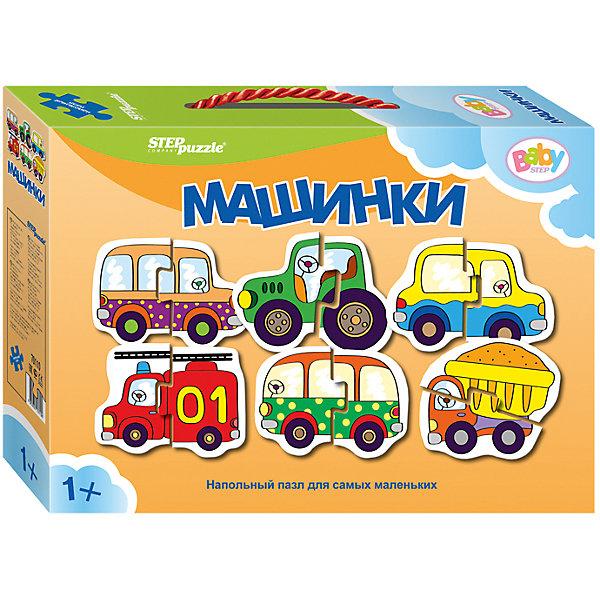 Напольный пазл 6 в 1 Step Puzzle Машинки, по 2 элемента на каждую картинкуКоврики-пазлы<br>Характеристики товара:<br><br>• возраст: от 1 года;<br>• комплект: 6 пазлов по 2 элемента;<br>• материал: картон;<br>• размер 1 собранного пазла: 34х34 см;<br>• упаковка: картонная коробка с ручкой;<br>• размер упаковки: 24,5х17х5 см;<br>• бренд, страна производства: STEP puzzle, Россия.<br><br>Напольный пазл-мозаика «Машинки» станет отличной развивающей игрушкой для малыша. В комплект входят 6 пазлов по 2 элемента каждый, с изображением видов транспорта: пожарной машины, камаза, такси, автобуса, трактора. Все детали пазла яркие, красочные, а главное – крупные. <br><br>Собирая детали пазла, малыш познакомится с различными видами транспорта, увидит как они выглядят. Играя с таким пазлом-мозайкой, малыш сможет развивать моторику рук и тактильное восприятие.<br><br>Пазл упакован в картонную коробку с изображением основной картинки, на которую удобно ориентироваться при сборке. Пазл сделан из прочных и качественных, нетоксичных и гипоаллергенных материалов.<br><br>Напольный пазл-мозаика «Машинки», набор 6 пазлов можно купить в нашем интернет-магазине.<br>Ширина мм: 240; Глубина мм: 170; Высота мм: 50; Вес г: 200; Возраст от месяцев: 12; Возраст до месяцев: 2147483647; Пол: Мужской; Возраст: Детский; SKU: 7338311;