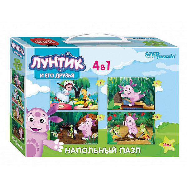Напольный пазл 4 в 1 Step Puzzle Лунтик, 4/6/8/12 элементовКоврики-пазлы<br>Характеристики товара:<br><br>• возраст: от 1 года;<br>• комплект: 4 пазла;<br>• количество элементов: 30 шт.;<br>• материал: картон;<br>• размер 1 собранного пазла: 23х16 см.;<br>• упаковка: картонная коробка с ручкой;<br>• размер упаковки: 28х20х6 см;<br>• бренд, страна производства: STEP puzzle, Россия.<br><br>Напольный пазл-мозаика «Лунтик» станет отличной развивающей игрушкой для малыша. Играя с таким пазлом-мозайкой, малыш сможет развивать моторику рук и тактильное восприятие.<br><br>В комплект входят 4 пазла с изображением всеми любимых главных героев из одноименного мульфильма. Все детали пазла яркие, красочные, а главное – крупные. <br><br>Пазл упакован в картонную коробку с изображением основной картинки, на которую удобно ориентироваться при сборке. Пазл сделан из прочных и качественных, нетоксичных и гипоаллергенных материалов.<br><br>Напольный пазл-мозаика «Лунтик», набор 4 пазла можно купить в нашем интернет-магазине.<br>Ширина мм: 280; Глубина мм: 200; Высота мм: 60; Вес г: 384; Возраст от месяцев: 12; Возраст до месяцев: 2147483647; Пол: Унисекс; Возраст: Детский; SKU: 7338318;