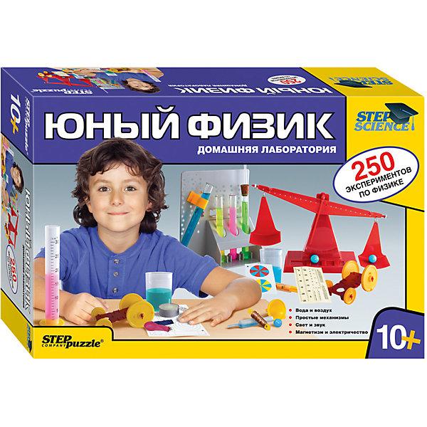 Набор для опытов Step Puzzle Домашняя лаборатория Юный физикХимия и физика<br>Характеристики товара:<br><br>• возраст: от 10 лет;<br>• материал: пластик, металл;<br>• размер упаковки: 40х27х8,5 см.;<br>• упаковка: картонная коробка;<br>• вес в упаковке: 1,4 кг.;<br>• бренд, страна производства: STEP puzzle, Россия.<br><br>Домашняя лаборатория «Юный физик» этот научно-позновательский набор станет отличным подарком для любознательных детей. <br><br>В наборе есть все необходимое оборудование для проведения более чем 250 экспериментов по физике. Проводя опыты, юный естествоиспытатель узнает: о воде и воздухе; простых механизмах; свете и звуке; магнетизме и электричестве. <br><br>В комплекте: лабораторный набор, инструкция.<br><br>Рекомендуемый возраст: от 10 лет, под наблюдением взрослых.<br><br>Домашняя лаборатория «Юный физик», STEP puzzle можно купить в нашем интернет-магазине.<br>Ширина мм: 400; Глубина мм: 270; Высота мм: 85; Вес г: 1367; Возраст от месяцев: 120; Возраст до месяцев: 2147483647; Пол: Унисекс; Возраст: Детский; SKU: 7338323;