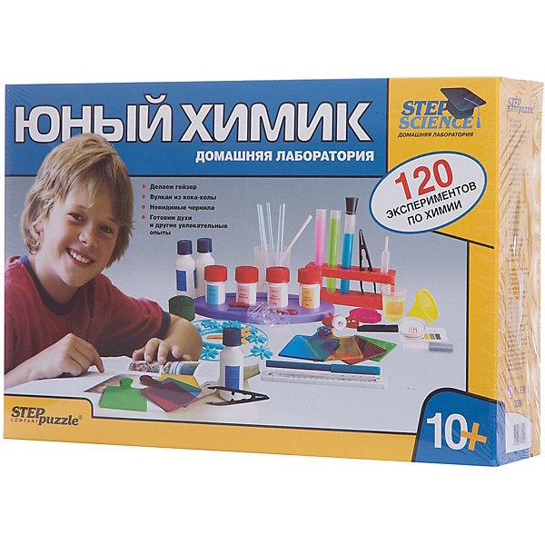 Набор для опытов Step Puzzle Домашняя лаборатория Юный химикХимия и физика<br>Характеристики товара:<br><br>• возраст: от 10 лет;<br>• материал: пластик, металл;<br>• размер упаковки: 40х27х8,5 см.;<br>• упаковка: картонная коробка;<br>• вес в упаковке: 1,8 кг.;<br>• бренд, страна производства: STEP puzzle, Россия.<br><br>Домашняя лаборатория «Юный химик» этот научно-позновательский набор станет отличным подарком для любознательных детей. <br><br>В наборе есть все необходимое чтобы познакомиться с основами занимательной химии, используя самые обычные продукты, которые найдутся в любом доме: уксус, сахар, сода и т.д. <br><br>120 химических опытов позволяют изучить ежедневные явления и поближе познакомиться с увлекательным миром химии. Наряду с опытами, вы научитесь получать гигантские мыльные пузыри, самостоятельно делать мыло и желеобразные фигурки, выращивать кристаллы, готовить йогурт, сыр, мороженое и многое другое.<br><br>В комплекте: лабораторный набор, инструкция.<br><br>Рекомендуемый возраст: от 10 лет, под наблюдением взрослых.<br><br>Домашняя лаборатория «Юный химик», STEP puzzle можно купить в нашем интернет-магазине.<br>Ширина мм: 400; Глубина мм: 270; Высота мм: 85; Вес г: 1167; Возраст от месяцев: 120; Возраст до месяцев: 2147483647; Пол: Унисекс; Возраст: Детский; SKU: 7338324;