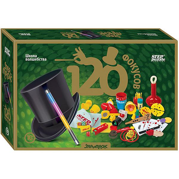 Набор для фокусов Step Puzzle Школа волшебства 120 фокусовФокусы и розыгрыши<br>Характеристики товара:<br><br>• возраст: от 8 лет;<br>• комплект: реквизит для фокусов, инструкция.;<br>• материал: пластик, текстиль, резина, бумага, металл;<br>• размер упаковки: 40х27х5,5 см.;<br>• упаковка: картонная коробка;<br>• вес в упаковке: 1,1 кг.;<br>• бренд, страна производства: STEP puzzle, Россия.<br><br>Настольная игра «Школа волшебства: 120 фокусов» от Step Puzzle красного цвета предназначена для того, чтобы ребенок мог понять секрет и принцип некоторых фокусов и исполнять их. <br><br>Это уникальный набор, в котором есть всё, чтобы стать настоящим фокусником: необходимый реквизит, позволяющий показать интересные и разнообразные фокусы разной степени сложности; подробная пошаговая инструкция с иллюстрациями; рекомендации по подготовке красочного шоу; секреты самых загадочных фокусов.<br><br>Ребенок может самостоятельно изучить каждый из фокусов, а затем продемонстрировать их почтенной публике - семье, друзьям, одноклассникам. Также можно удивить волшебством зрителей на любом празднике или представлении.<br><br>Настольную игру «Школа волшебства: 120 фокусов»,  STEP puzzle можно купить в нашем интернет-магазине.<br>Ширина мм: 400; Глубина мм: 270; Высота мм: 90; Вес г: 1100; Возраст от месяцев: 120; Возраст до месяцев: 2147483647; Пол: Унисекс; Возраст: Детский; SKU: 7338330;