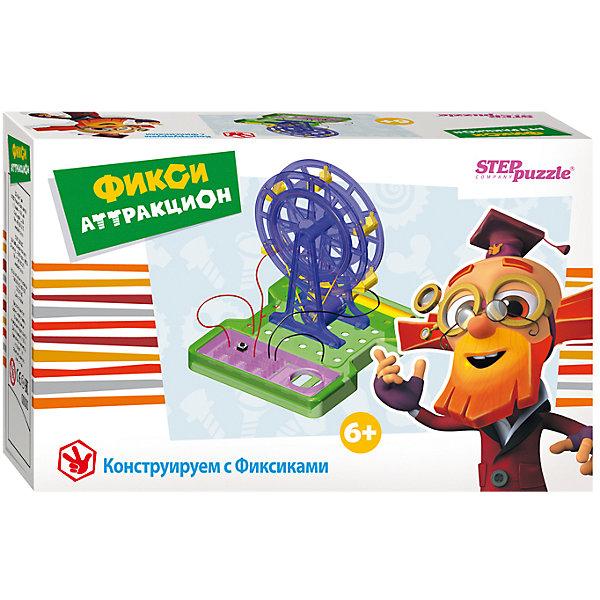 Развивающая игра-конструктор Step Puzzle Фикси-аттракционХимия и физика<br>Характеристики товара:<br><br>• возраст: от 6 лет;<br>• комплект: детали конструктора, инструкция;<br>• материал: пластик, металл;<br>• тип питания собранной модели: батарейки;<br>• наличие батареек: не входят в комплект;<br>• размер упаковки: 16x12,5x6 см.;<br>• упаковка: картонная коробка;<br>• бренд, страна производства: STEP puzzle, Россия.<br>                                                                                                                                                                                                                                                                                                                       <br>Электронный конструктор «Фикси-аттракцион» - развивающая игра от торговой марки Step Puzzle дает начальное представление об электромагнитных явлениях. <br><br>Собирая модель электромагнитного аттракциона-колесо, ребенок получает навык конструирования, учиться читать и понимать чертежи, развивает мелкую моторику, внимание, память.<br>В комплекте для сборки конструктора можно найти все необходимые детали, а также пошаговую инструкцию, следуя которой мальчик сможет собрать аттракцион. <br><br>Каждый научный конструктор сопровождается историей, о приключениях друзей из города Самоделкино. Элек и Трон, Кнопка, Том в доступной для детей форме расскажут и объяснят, как с физической точки зрения действует собранный механизм.<br><br>Электронный конструктор «Фикси-аттракцион»  STEP puzzle можно купить в нашем интернет-магазине.<br>Ширина мм: 160; Глубина мм: 125; Высота мм: 60; Вес г: 190; Возраст от месяцев: 72; Возраст до месяцев: 2147483647; Пол: Унисекс; Возраст: Детский; SKU: 7338331;