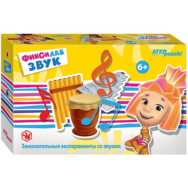 Набор для опытов Step Puzzle Фиксилаб. ЗвукХимия и физика<br>Характеристики товара:<br><br>• возраст: от 6 лет;<br>• комплект: детали набора, инструкция;<br>• материал: пластик, текстиль, картон;<br>• размер упаковки: 20,5x13x6 см.;<br>• упаковка: картонная коробка;<br>• бренд, страна производства: STEP puzzle, Россия.<br>                                                                                                                                                                                                                                                                                                                       <br>Развивающая игра «Фиксилаб. Звук» - набор включает занимательные эксперименты со звуком от торговой марки Step Puzzle. <br><br>В комплект включено все необходимое. Набор позволит не только интересно провести время, но и расширить кругозор. Для того, чтобы завершить лабораторный проект, необходимо прочитать инструкцию и правильно соединить все имеющиеся детали. Юным исследователям будет интересно узнать секреты воды.<br><br>Каждый научный конструктор сопровождается историей, о приключениях друзей из города Самоделкино. Элек и Трон, Кнопка, Том в доступной для детей форме расскажут и объяснят, как с физической точки зрения действует собранный механизм.<br><br>Развивающая игра «Фиксилаб. Звук»  STEP puzzle можно купить в нашем интернет-магазине.<br>Ширина мм: 205; Глубина мм: 130; Высота мм: 55; Вес г: 180; Возраст от месяцев: 72; Возраст до месяцев: 2147483647; Пол: Унисекс; Возраст: Детский; SKU: 7338336;