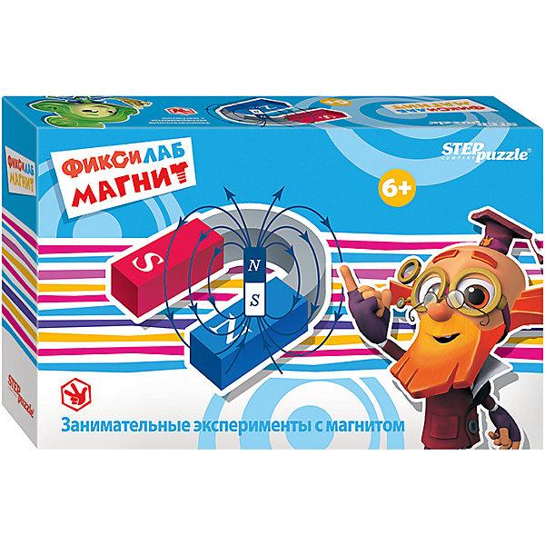 Развивающая игра Step Puzzle Фиксилаб. МагнитХимия и физика<br>Характеристики товара:<br><br>• возраст: от 6 лет;<br>• комплект: детали набора, инструкция;<br>• материал:магнит, металл, пластик;<br>• размер упаковки: 20,5x13x6 см.;<br>• упаковка: картонная коробка;<br>• бренд, страна производства: STEP puzzle, Россия.<br>                                                                                                                                                                                                                                                                                                                       <br>Развивающая игра «Фиксилаб. Магнит» - представляет собой комплект различных приспособлений для проведения интересных экспериментов, подробное руководство которых изложено в предоставленной инструкции.<br><br>Полноценный набор для проведения экспериментов, которые увлекут малыша и дадут ответы на многие вопросы. Используя, казалось бы, самые простые металлические предметы, юный исследователь сможет расширить кругозор своего мировосприятия. <br><br>Каждый научный конструктор сопровождается историей, о приключениях друзей из города Самоделкино. Элек и Трон, Кнопка, Том в доступной для детей форме расскажут и объяснят, как с физической точки зрения действует собранный механизм.<br><br>Развивающая игра «Фиксилаб. Магнит»  STEP puzzle можно купить в нашем интернет-магазине.<br>Ширина мм: 205; Глубина мм: 130; Высота мм: 55; Вес г: 160; Возраст от месяцев: 72; Возраст до месяцев: 2147483647; Пол: Унисекс; Возраст: Детский; SKU: 7338338;