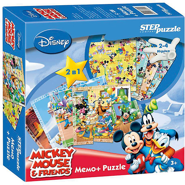 Настольная игра 2 в 1 Мемо+Пазлы Микки Маус и его друзьяИгры мемо<br>Характеристики товара:<br><br>• возраст: от 3 лет;<br>• количество деталей: 24 шт.;<br>• материал: картон;<br>• размер упаковки: 20x20x5 см.;<br>• упаковка: картонная коробка;<br>• бренд, страна производства: STEP puzzle, Россия.<br>                                                                                                                                                                                                                                                                                                                       <br>Настольная мемо-игра «Микки Маус» подарит детям увлекательное приключение в чудесный мир мышонка Микки Мауса и его друзей. <br><br>Игра рассчитана на 2-4 игроков старше 3 лет, которым предстоит подобрать соответствующие карточки для того, чтобы собрать красочную картинку. На каждой картинке изображен определенный кадр из мультфильма. <br><br>Игра с таким пазлом поможет ребенку в развитии логического мышления, воображения, памяти и мелкой моторики рук.<br><br>Все карточки в наборе сделаны из плотного картона. Игра обязательно привлечет к себе внимание своими яркими картинками.<br><br>Настольную мемо-игру «Микки Маус», 24 детали,  STEP puzzle можно купить в нашем интернет-магазине.<br>Ширина мм: 200; Глубина мм: 200; Высота мм: 50; Вес г: 340; Возраст от месяцев: 36; Возраст до месяцев: 2147483647; Пол: Унисекс; Возраст: Детский; SKU: 7338341;