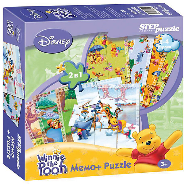 Настольная игра 2 в 1 Мемо+Пазлы Disney Медвежонок ВинниИгры мемо<br>Характеристики товара:<br><br>• возраст: от 3 лет;<br>• количество деталей: 24 шт.;<br>• материал: картон;<br>• размер упаковки: 20x20x5 см.;<br>• упаковка: картонная коробка;<br>• бренд, страна производства: STEP puzzle, Россия.<br>                                                                                                                                                                                                                                                                                                                       <br>Настольная мемо-игра «Медвежонок Винни» подарит детям увлекательное приключение в чудесный мир мышонка Микки медвежонка Винни-Пуха и его друзей. <br><br>Игра рассчитана на 2-4 игроков старше 3 лет, которым предстоит подобрать соответствующие карточки для того, чтобы собрать красочную картинку. На каждой картинке изображен определенный кадр из мультфильма. <br><br>Игра с таким пазлом поможет ребенку в развитии логического мышления, воображения, памяти и мелкой моторики рук.<br><br>Все карточки в наборе сделаны из плотного картона. Игра обязательно привлечет к себе внимание своими яркими картинками.<br><br>Настольную мемо-игру «Медвежонок Винни», 24 детали,  STEP puzzle можно купить в нашем интернет-магазине.<br>Ширина мм: 200; Глубина мм: 200; Высота мм: 50; Вес г: 340; Возраст от месяцев: 36; Возраст до месяцев: 2147483647; Пол: Унисекс; Возраст: Детский; SKU: 7338342;