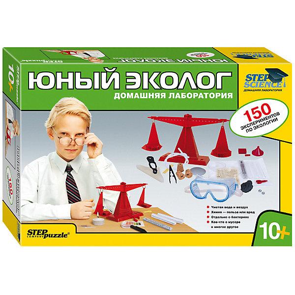 Набор для опытов Step Puzzle Домашняя лаборатория Юный экологАнатомия<br>Характеристики товара:<br><br>• возраст: от 10 лет;<br>• материал: пластик, картон;<br>• размер упаковки: 40х27х8,5 см.;<br>• упаковка: картонная коробка;<br>• вес в упаковке: 1,5 кг.;<br>• бренд, страна производства: STEP puzzle, Россия.<br><br>Домашняя лаборатория «Юный эколог» этот научно-позновательский набор станет отличным подарком для любознательных детей. <br><br>В наборе есть материалы, оборудование и реактивы, с помощью которых можно провести 150 опытов на экологическую тематику. <br><br>Среди тем, которым уделяется наибольшее внимание, имеются темы, волнующие человечество, такие как восполняемые и не восполняемые природные ресурсы, чистота воды и воздуха, предотвращение экологических катастроф, роль микроорганизмов в жизни человека и многие другие.<br><br>Рекомендуемый возраст: от 10 лет, под наблюдением взрослых.<br><br>Домашняя лаборатория «Юный эколог», STEP puzzle можно купить в нашем интернет-магазине.<br>Ширина мм: 400; Глубина мм: 270; Высота мм: 85; Вес г: 1517; Возраст от месяцев: 120; Возраст до месяцев: 2147483647; Пол: Унисекс; Возраст: Детский; SKU: 7338347;
