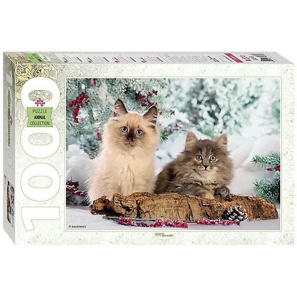 Пазл Step Puzzle Кошки, 1000 элементовПазлы классические<br>Характеристики товара:<br><br>• возраст: от 7 лет;<br>• количество деталей: 1000;<br>• размер собранной картины: 68х48 см.;<br>• материал: картон;<br>• размер упаковки: 40x27x5,5 см.;<br>• упаковка: картонная каробка;<br>• бренд, страна производства: STEP puzzle, Россия.<br>                                                                                                                                                                                                                                                                                                                       <br>Пазл «Кошки», состоящий из 1000 элементов, придется по душе всей вашей семье. Собрав этот пазл, вы получите чудесную картину с изображением пары кошек на фоне зимнего пейзажа.<br><br>Пазл выполнен из высококачественных материалов, что обеспечивает идеальное прилегание элементов друг к другу. Готовую картину можно склеить, вставить в рамку и повесить на стену.<br><br>Собирание пазлов это не только интересно, но и полезно: ведь в процессе создания картинки развивается мелкая моторика, тренируются наблюдательность и логическое мышление.<br><br>Пазл «Кошки», 1000 деталей можно купить в нашем интернет-магазине.<br>Ширина мм: 330; Глубина мм: 215; Высота мм: 55; Вес г: 620; Возраст от месяцев: 84; Возраст до месяцев: 2147483647; Пол: Унисекс; Возраст: Детский; SKU: 7338364;