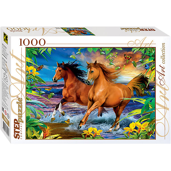 Пазл Step Puzzle Лошади, 1000 элементовПазлы классические<br>Характеристики товара:<br><br>• возраст: от 7 лет;<br>• количество деталей: 1000;<br>• размер собранной картины: 68х48 см.;<br>• материал: картон;<br>• размер упаковки: 40x27x5,5 см.;<br>• упаковка: картонная каробка;<br>• бренд, страна производства: STEP puzzle, Россия.<br>                                                                                                                                                                                                                                                                                                                       <br>Пазл «Лошади», состоящий из 1000 элементов, придется по душе всей вашей семье. Собрав этот пазл, вы получите чудесную картину с изображением пары лошадей, бегущих по берегу моря.<br><br>Пазл выполнен из высококачественных материалов, что обеспечивает идеальное прилегание элементов друг к другу. Готовую картину можно склеить, вставить в рамку и повесить на стену.<br><br>Собирание пазлов это не только интересно, но и полезно: ведь в процессе создания картинки развивается мелкая моторика, тренируются наблюдательность и логическое мышление.<br><br>Пазл «Лошади», 1000 деталей можно купить в нашем интернет-магазине.<br><br>Ширина мм: 400<br>Глубина мм: 270<br>Высота мм: 55<br>Вес г: 780<br>Возраст от месяцев: 84<br>Возраст до месяцев: 2147483647<br>Пол: Унисекс<br>Возраст: Детский<br>SKU: 7338368
