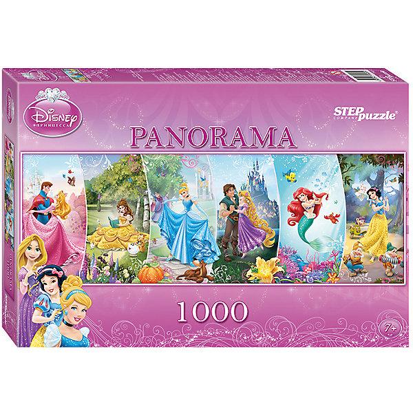 Панорамный пазл Step Puzzle Disney Принцессы, 1000 элементовПринцессы Дисней<br>Характеристики товара:<br><br>• возраст: от 7 лет;<br>• количество деталей: 1000;<br>• размер собранной картины: 100х34 см.;<br>• материал: картон;<br>• размер упаковки: 40x27x5,5 см.;<br>• упаковка: картонная каробка;<br>• бренд, страна производства: STEP puzzle, Россия.<br>                                                                                                                                                                                                                                                                                                                       <br>Пазл панорамный «Принцессы», состоящий из 1000 элементов, придется по душе всей вашей семье. Собрав этот пазл, вы получите красивую панорамную картину, изображающая очаровательных Принцесс Диснея - Спящая Красавица, Бель, Золушка, Рапунцель, Ариэль и Белоснежка. <br><br>Пазл выполнен из высококачественных материалов, что обеспечивает идеальное прилегание элементов друг к другу. Такой эффектный коллаж из различных героинь сможет стать прекрасным украшением детской комнаты. <br><br>Собирание пазлов это не только интересно, но и полезно: ведь в процессе создания картинки развивается мелкая моторика, тренируются наблюдательность и логическое мышление.<br><br>Пазл панорамный «Принцессы», 1000 деталей можно купить в нашем интернет-магазине.<br>Ширина мм: 400; Глубина мм: 270; Высота мм: 55; Вес г: 780; Возраст от месяцев: 84; Возраст до месяцев: 2147483647; Пол: Женский; Возраст: Детский; SKU: 7338383;