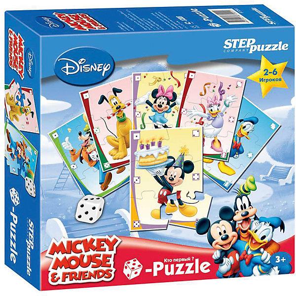 Пазл-игра Step Puzzle Кубик-Puzzle Disney Микки МаусМикки Маус и друзья<br>Характеристики товара:<br><br>• возраст: от 3 лет;<br>• количество деталей: 36 шт.;<br>• комплект: 6 пазлов по 6 элементов, игральный кубик;<br>• материал: картон;<br>• размер упаковки: 20x20x5 см.;<br>• упаковка: картонная коробка;<br>• бренд, страна производства: STEP puzzle, Россия.<br>                                                                                                                                                                                                                                                                                                                       <br>Настольная игра-пазл «Микки Маус» включает в себя 6 пазлов по 6 элементов каждый, а также игральный кубик. Игра с таким пазлом поможет ребенку в развитии логического мышления, воображения, памяти и мелкой моторики рук.<br><br>Данный пазл порадует ребенка известными персонажами Диснея - Микки Мауса и его друзей. Персонажи будут изображены на маленьких карточках, каждую из которых предстоит собрать. Собирать пазл надо будет быстрее всех, но при этом пользоваться игральным кубиком. <br><br>Все карточки в наборе сделаны из плотного картона. Игра обязательно привлечет к себе внимание своими яркими картинками.<br><br>Настольную игру-пазл «Микки Маус», 36 деталей,  STEP puzzle можно купить в нашем интернет-магазине.<br>Ширина мм: 200; Глубина мм: 200; Высота мм: 50; Вес г: 340; Возраст от месяцев: 36; Возраст до месяцев: 2147483647; Пол: Унисекс; Возраст: Детский; SKU: 7338395;